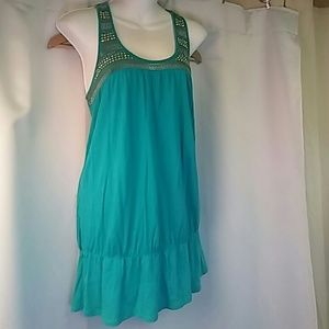 Express Turquoise Tunic with Gold Trim, L
